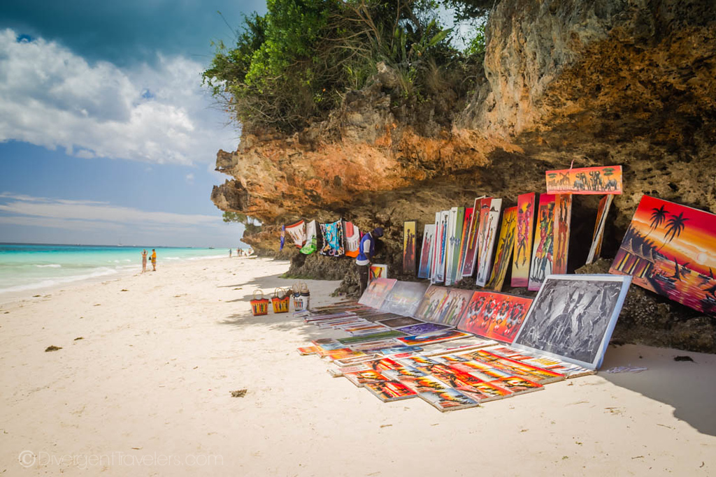 Art for sale on the beach in Zanzibar