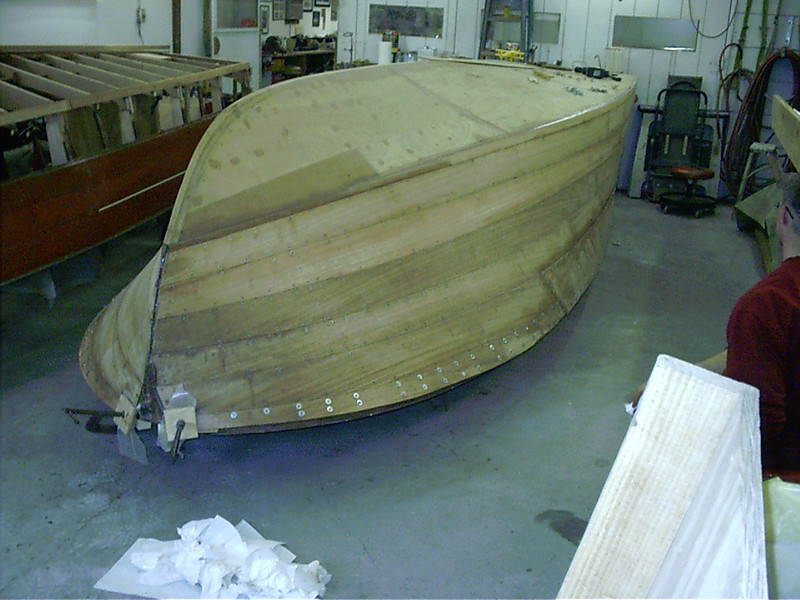 Starboard front view of last plank installed.