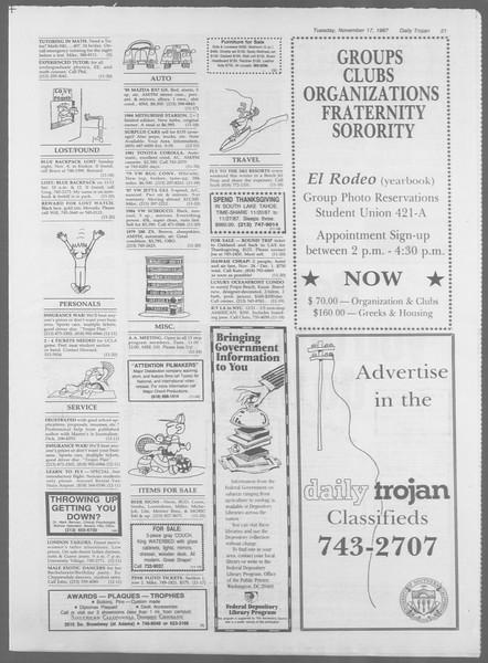 Daily Trojan, Vol. 105, No. 53, November 17, 1987