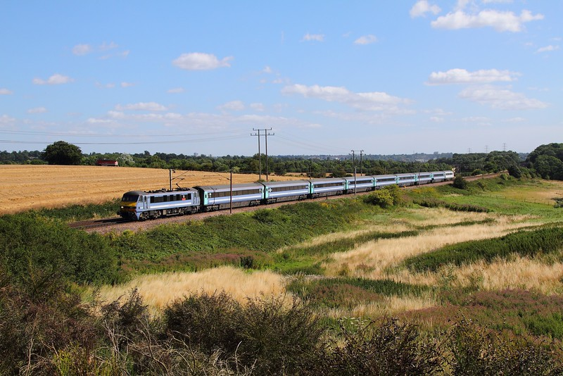 90006 on the 1P25 0930 Norwich to London Liverpool Street at Baylham on the 4th August 2015.JPG