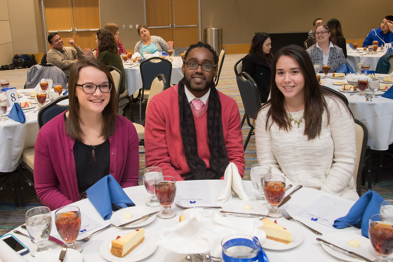 Samantha Demelim(left), Nate Lewis, and Marina Marroquin enjoying the MLK Awards Luncheon.