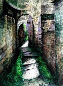 """""""The ancient lane is deep"""" (watercolor) by Shaosheng Cheng"""