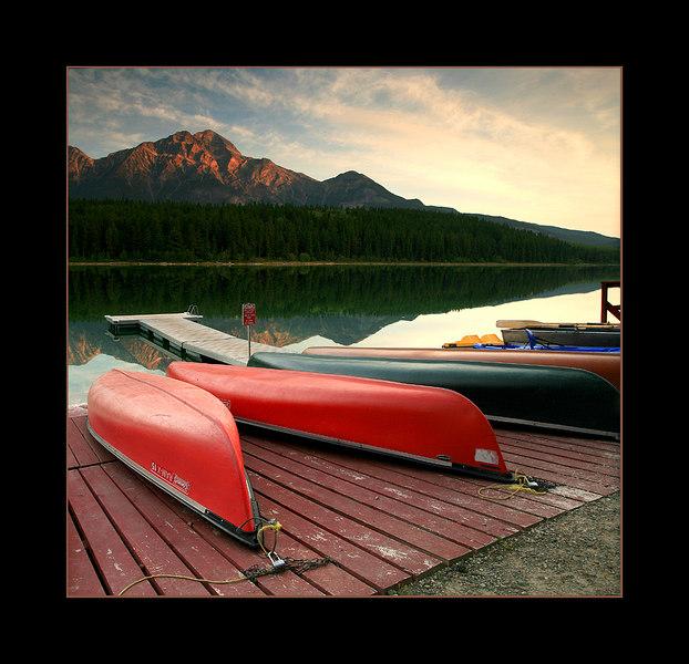 Canoes, Patricia Lake, Jasper National Park