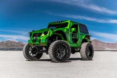 @camberedcustoms 2007 Jeep Wrangler Lime Green Metallic 24x14 #CORTEX 40x15.50R24 Nitto Trail Grapplers