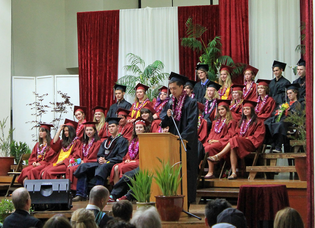 . Associated Student Body President John Brittingham speaks at Mendocino High School\'s graduation.