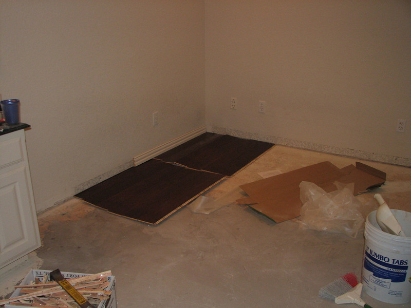 view toward SE corner with flooring test.