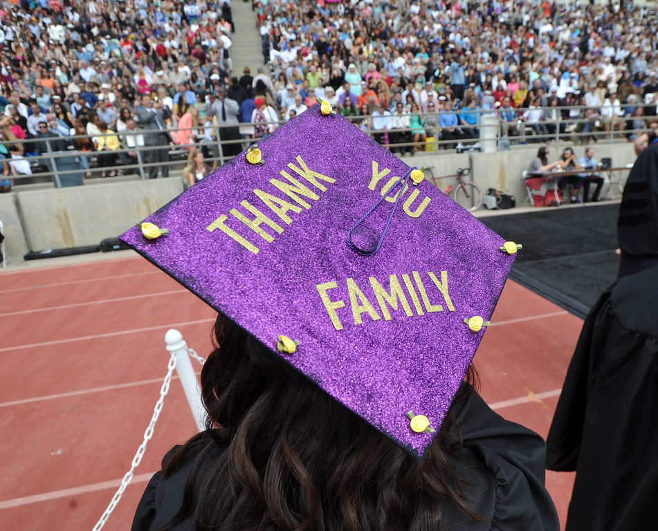 . About 360 undergraduate and graduate students receive their degrees during the 110th Commencement Ceremony at Memorial Stadium on the Whittier College campus in Whittier on Friday May 17, 2013. (Keith Durflinger/San Gabriel Valley News)