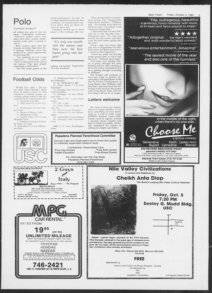 Daily Trojan, Vol. 97, No. 24, October 05, 1984