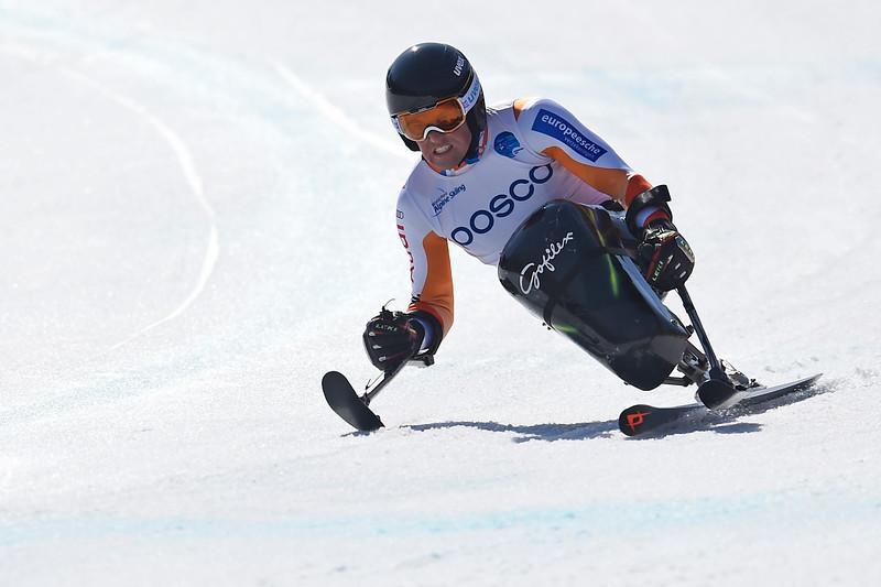 11-3-2017 SKIEN: 2017 WORLD PARA SNOWBOARD  WORLD CUP FINALS: PYEONGCHANG Training downhill. Niels de Langen. Foto: Mathilde Dusol