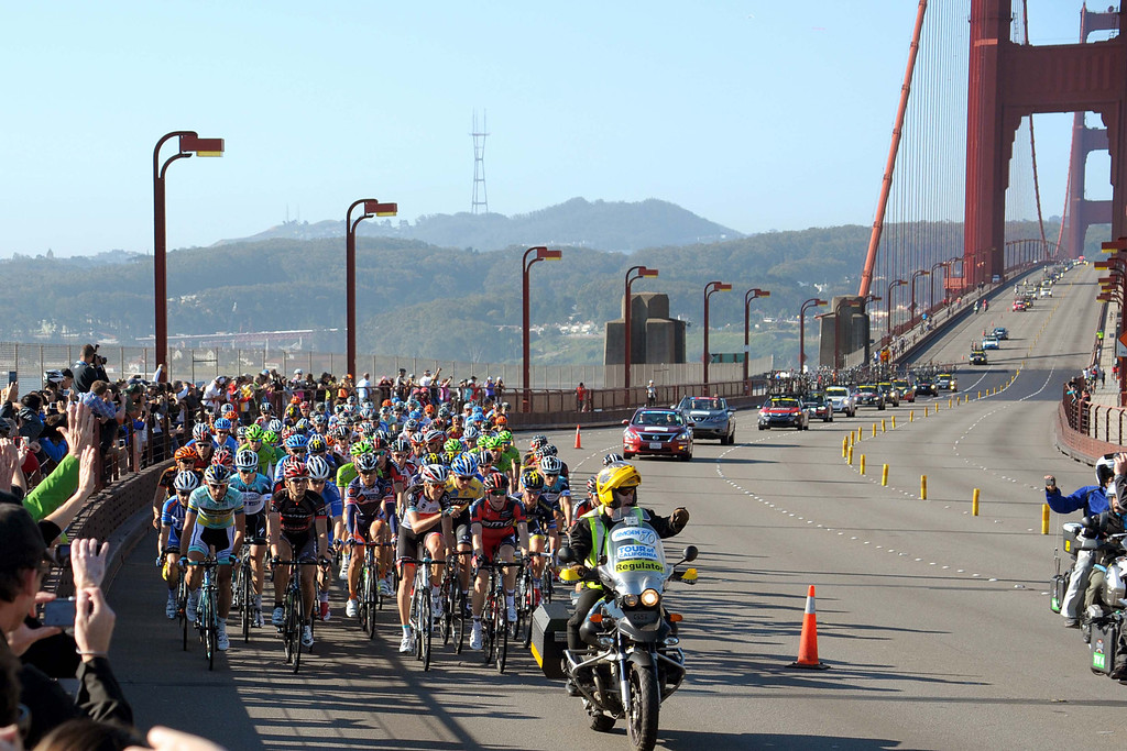 . The racers on the golden gate at the start of the stage. Ben Jacques-Maynes iin on the very left at the front of the peloton. (Robert Torre/Special to the Sentinel)
