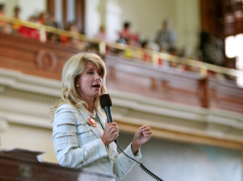 . Texas State Sen. Wendy Davis, a Democrat, speaks during a filibuster intended to stop Senate Bill 5, which contains restrictions on abortions after 20 weeks, at the State Capitol in Austin, Texas, June 25, 2013. The State Senate, which passed a version of the bill last week without the 20 weeks ban, has until midnight Tuesday to take action on the bill. (Erich Schlegel/The New York Times)