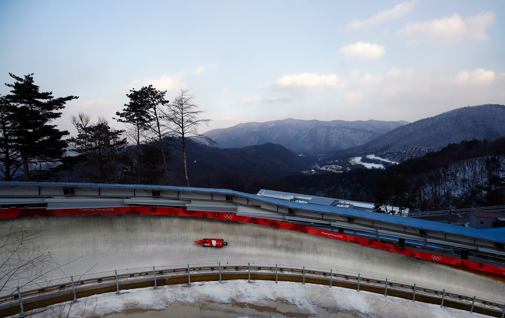 . Matthias Guggenberger of Austria practices during a training run for the men\'s skeleton at the 2018 Winter Olympics in Pyeongchang, South Korea, Tuesday, Feb. 13, 2018. (AP Photo/Jae C. Hong)
