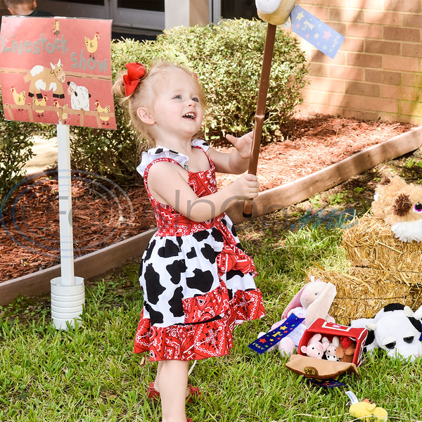 Vayl Gillispie, 2, plays with stuffed animals during the Kids Kaleidoscope Preschool Toddler Fair at Pollard United Methodist Church in Tyler, Texas, on Thursday, Oct. 4, 2018. (Chelsea Purgahn/Tyler Morning Telegraph)