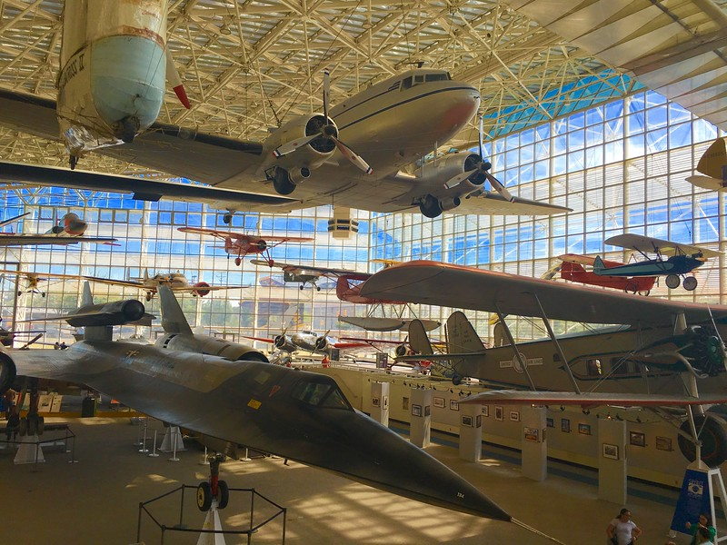 building with airplanes on display