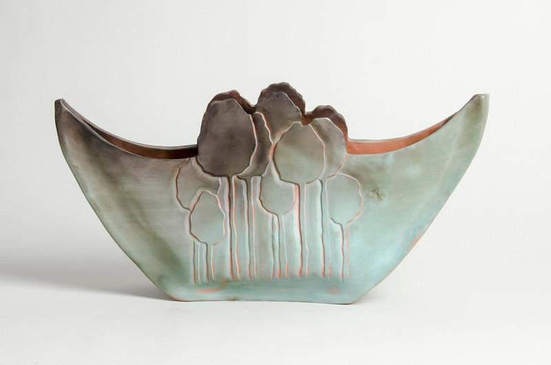 "4.Tree vessel/ handbuilt /terracotta/terra sigillata:   height: 8"" width: 16"" depth: 3 1/2"""