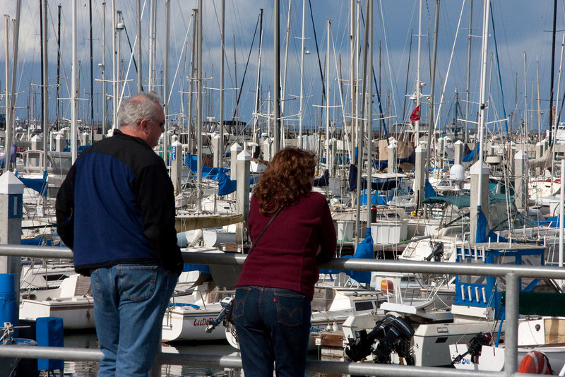 Paul and Linda imagine someday their own boat waiting here for them. (They're going sailing on the SF Bay tomorrow.)