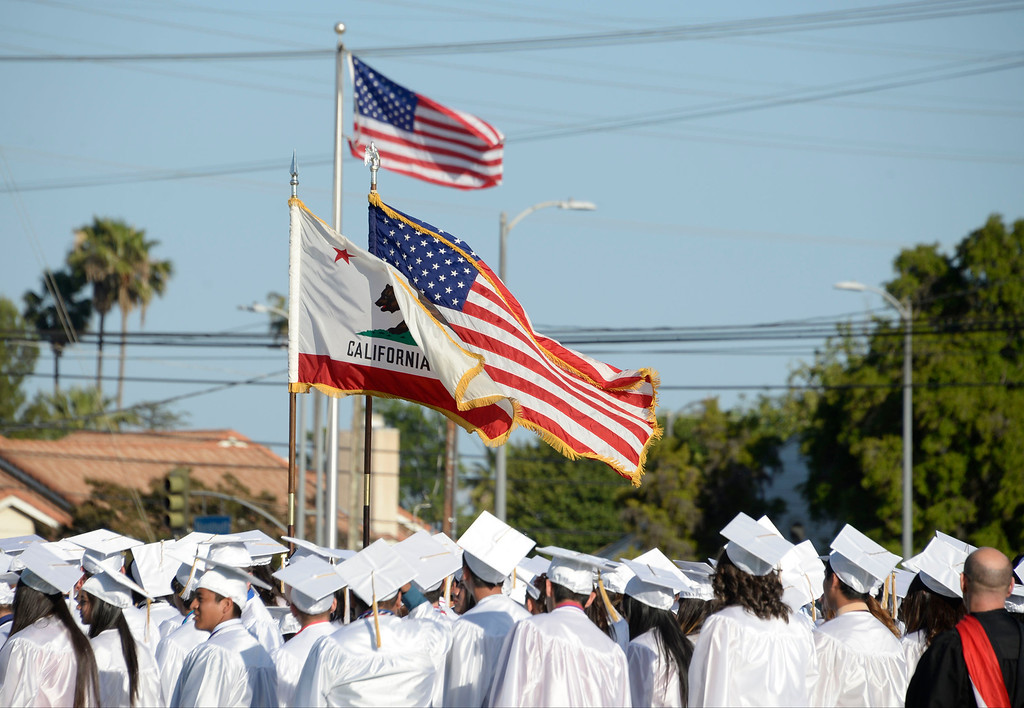 . June 5,2014. North Hills, California. The ROTC color guard ready to perform during the Monroe High graduating class of 2014. Photo by Gene Blevins/LA Daily News