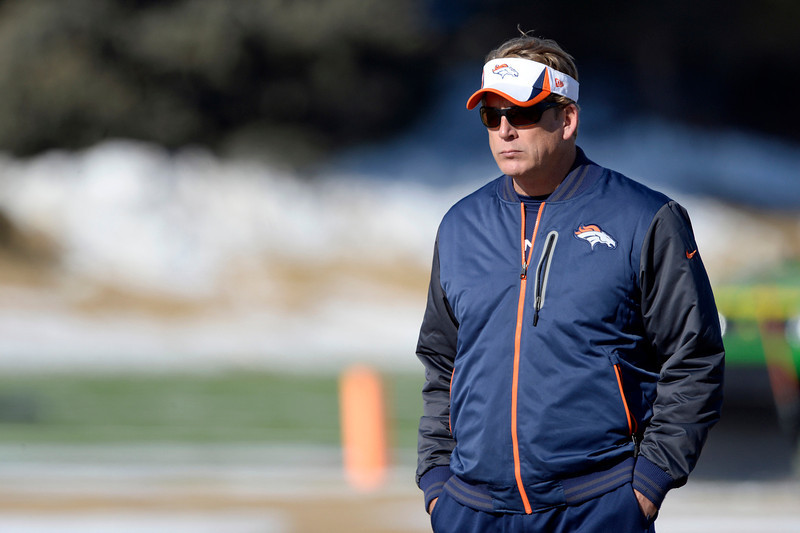 . Denver Broncos defensive coordinator Jack Del Rio paces the field during practice January 8, 2014 at Dove Valley. The Denver Broncos are preparing for their Divisional Game against the San Diego Chargers at Sports Authority Field. (Photo by John Leyba/The Denver Post)