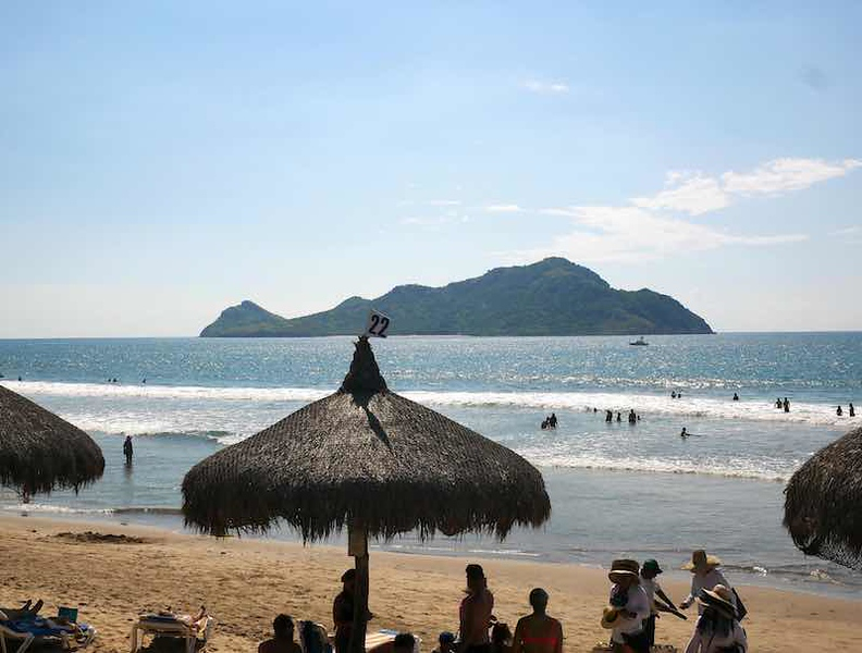 View of Deer Island from Mazatlan beach