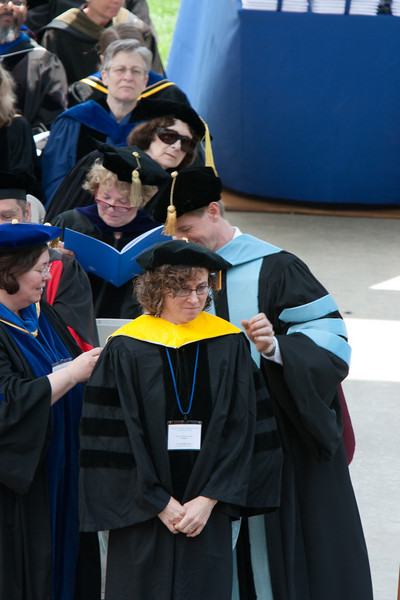Clare Waterman, class of '89, receives an honorary Doctor of Science degree.