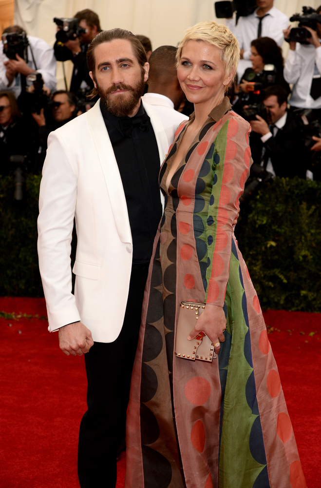 """. Jake Gyllenhaal and Maggie Gyllenhaal attend the \""""Charles James: Beyond Fashion\"""" Costume Institute Gala at the Metropolitan Museum of Art on May 5, 2014 in New York City.  (Photo by Dimitrios Kambouris/Getty Images)"""