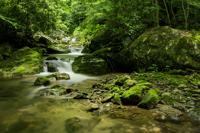 A set of triple cascading waterfalls at Rocky Fork State Park in Flag Pond, TN on Saturday, June 13, 2015. Copyright 2015 Jason Barnette