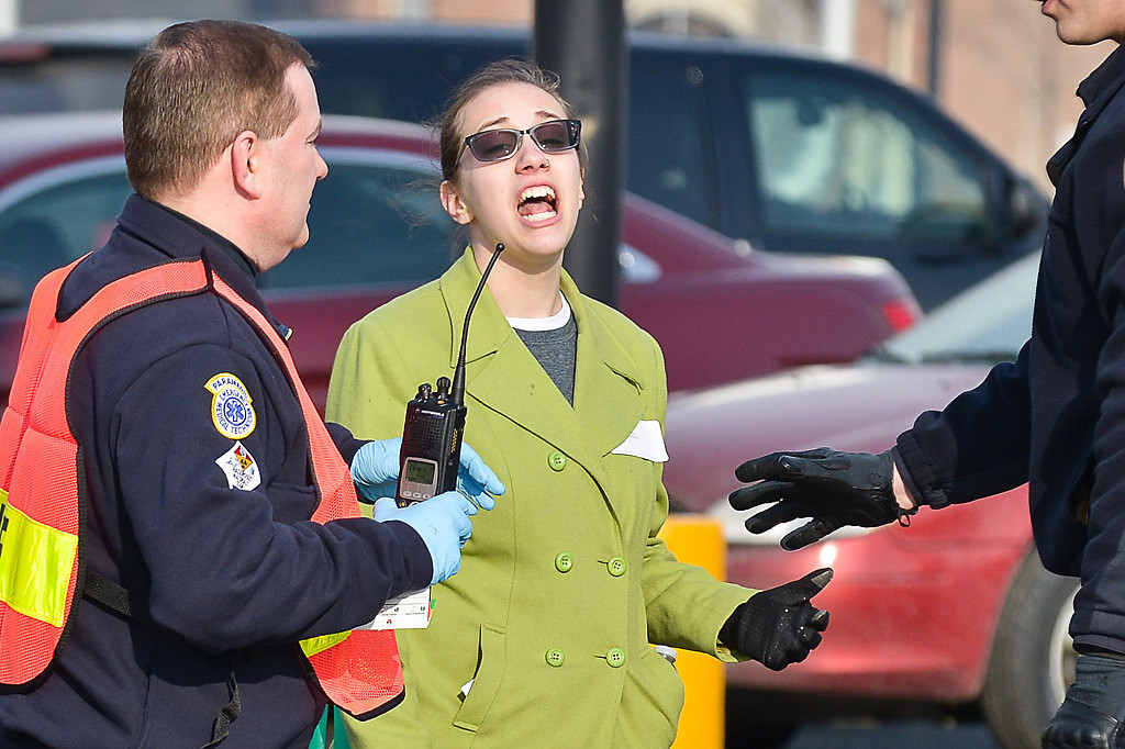 . A participant appears in shock during a full-scale emergency preparedness exercise. (Pioneer Press: Ben Garvin)