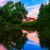 Barn reflecting in North East Creek, Bar Harbor, Maine July 24, 2014, 8:10 PM