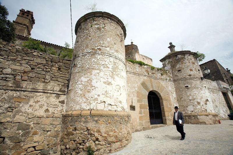 Entrance gate of Castillo Palacio de la Encomienda Mayor de Alcantara, Brozas, Caceres, Spain