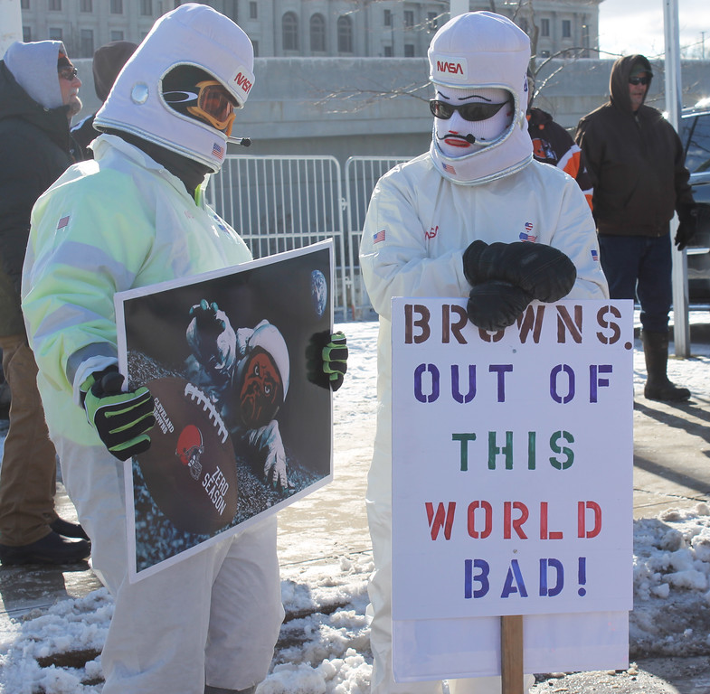 . Kailee Leonard - The News-Herald <br> Cleveland Browns fans wait for the start of the Browns Perfect Season Parade 2.0 Saturday January 6, 2018.
