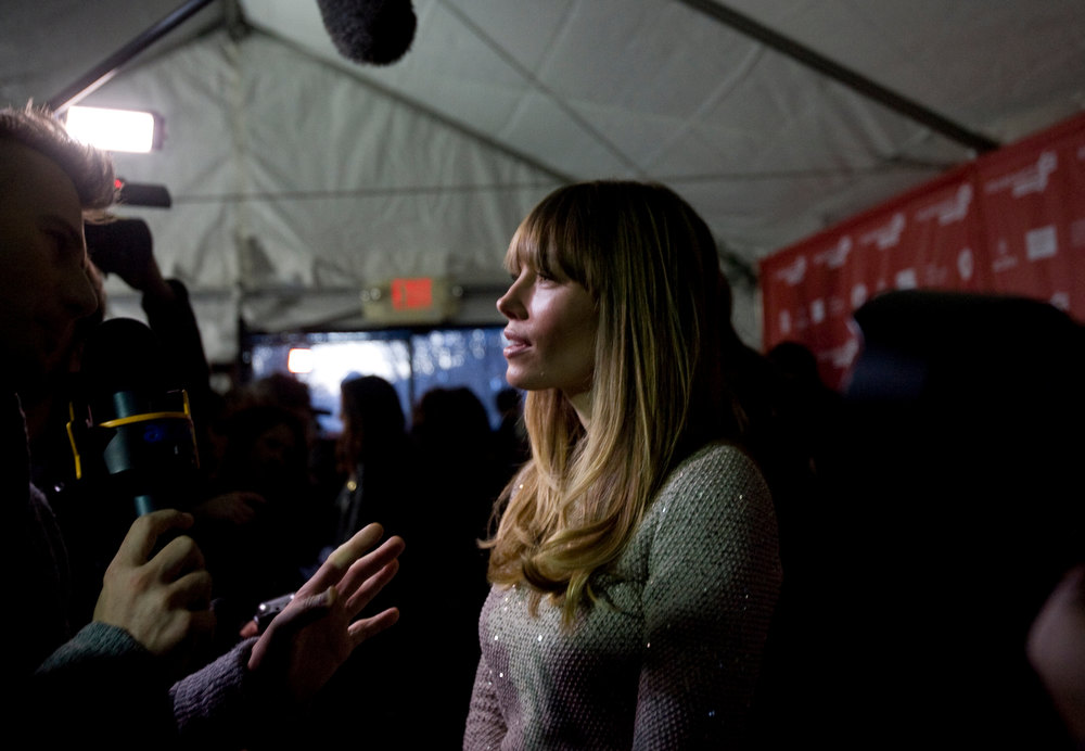 ". Kim Raff  |  The Salt Lake Tribune Jessica Biel is interviewed on the red carpet for the premiere of ""Emanuel and the Truth About Fishes\"" at the Park City Library Center during the Sundance Film Festival in Park City on January 18, 2013."