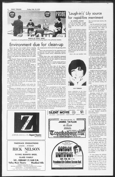 Daily Trojan, Vol. 61, No. 73, February 13, 1970