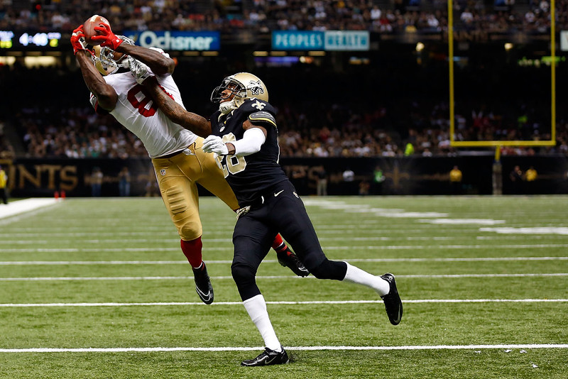 . Anquan Boldin #81 of the San Francisco 49ers catches a touchdown pass in front of Keenan Lewis #28 of the New Orleans Saints during the second quarter of a game at the Mercedes-Benz Superdome on November 9, 2014 in New Orleans, Louisiana.  (Photo by Wesley Hitt/Getty Images)