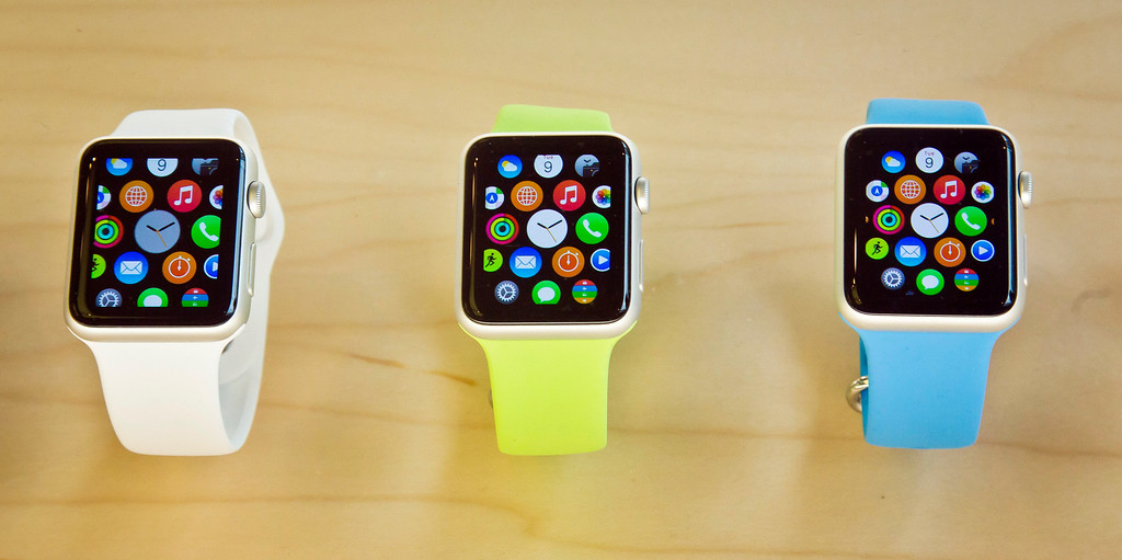 . Apple Watches appear on display, Friday, April 10, 2015, in New York. Apple has started taking orders for the watch on its website and the Apple Store app. Currently, that\'s the only way Apple is selling the watch, with shipments scheduled to start April 24. (AP Photo/Bebeto Matthews)