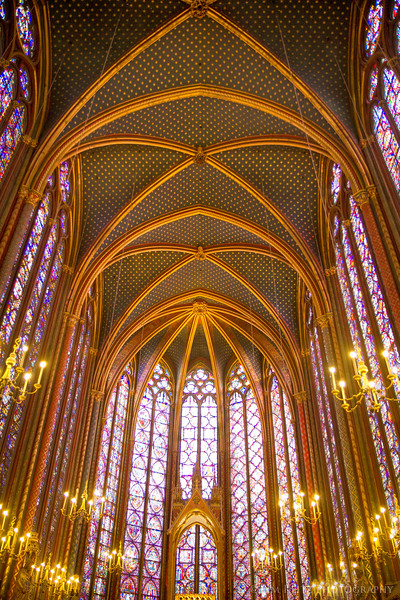 Sainte-Chapelle, Paris - upper chapel with beautiful stained glass.