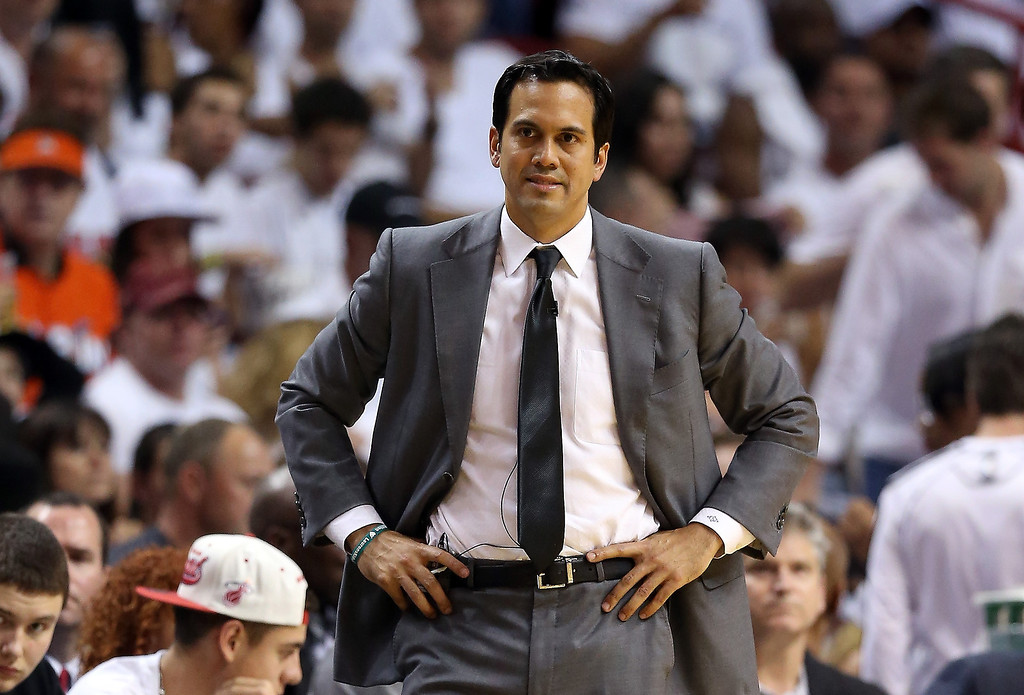 . Head coach Erik Spoelstra of the Miami Heat reacts in the first half while taking on the San Antonio Spurs during Game Two of the 2013 NBA Finals at AmericanAirlines Arena on June 9, 2013 in Miami, Florida.   (Photo by Christian Petersen/Getty Images)