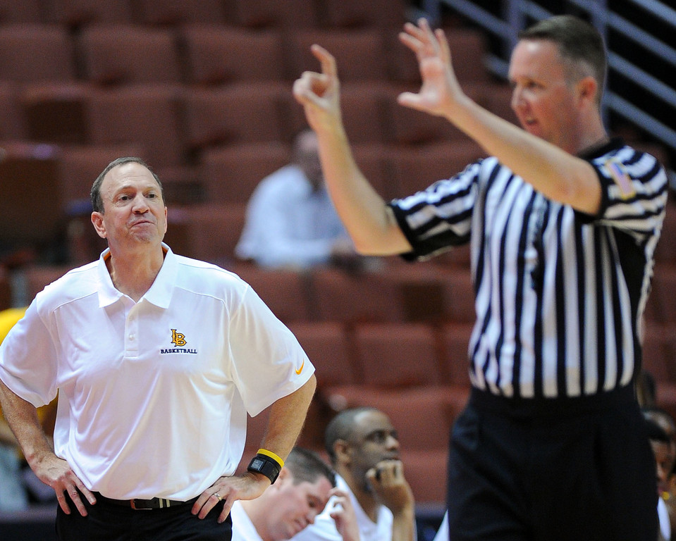 . LBSU head coach Dan Monson comes over to argue a foul called on a 49er at the Honda Center in Anaheim, CA on Thursday, March 13, 2014. Long Beach State vs CSU Fullerton in the Big West men\'s basketball tournament. 1st half. LBSU won 66-56.  Photo by Scott Varley, Daily Breeze)