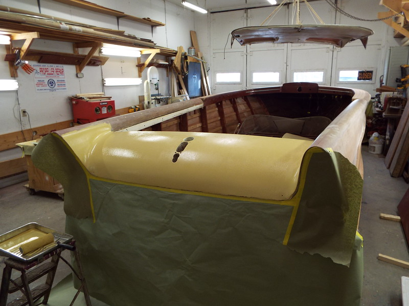 Rear deck repaired with the first coat of primer applied.