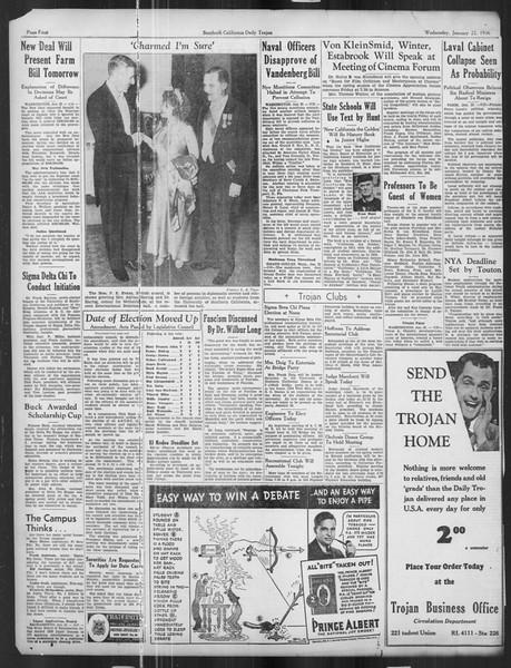 Daily Trojan, Vol. 27, No. 70, January 22, 1936