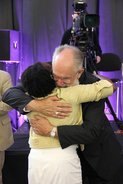 The Rev. Linda Norman, treasure of the ELCA, congratulates the Rev. Wm. Chris Boerger, secretary-elect.