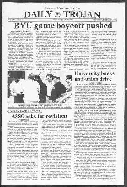 Daily Trojan, Vol. 62, No. 51, December 09, 1970