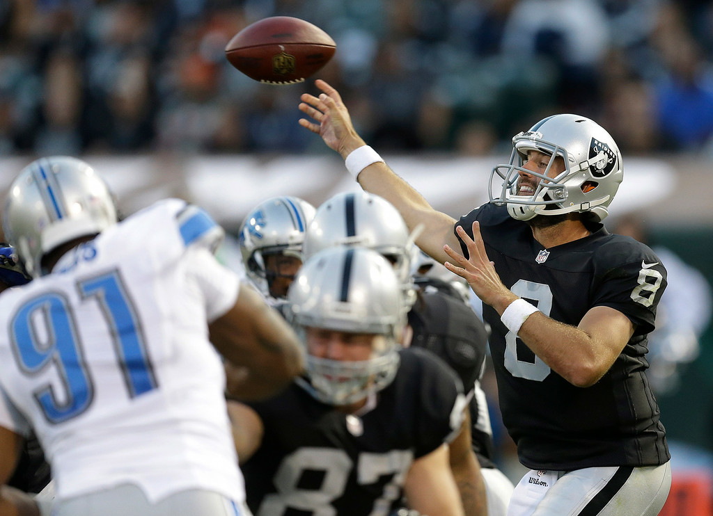 . Oakland Raiders quarterback Matt Schaub (8) passes against the Detroit Lions during the first half of an NFL preseason football game in Oakland, Calif., Friday, Aug. 15, 2014. (AP Photo/Ben Margot)