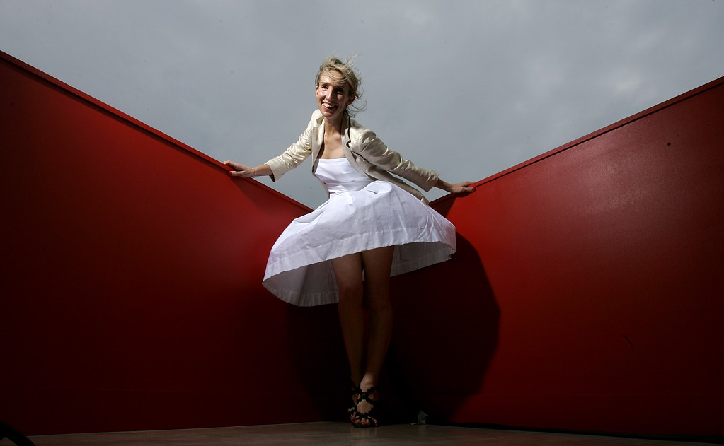 ". British director Sam Taylor-Wood, whose short film ""Love You More\"" is in competition, poses for a portrait during the 61st International film festival in Cannes, southern France, on Saturday, May 24, 2008.  (AP Photo/Carlo Allegri)"