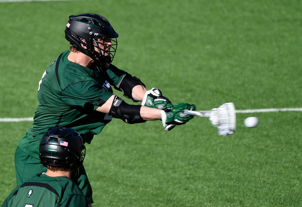 . DENVER, CO - FEBRUARY 28: Dartmouth Jack Korzelius (2) takes a shot on goal for a score in the fourth period against the Denver Pioneers during the Face-off Classic February 28, 2016 at Peter Barton Lacrosse Stadium. (Photo By John Leyba/The Denver Post)