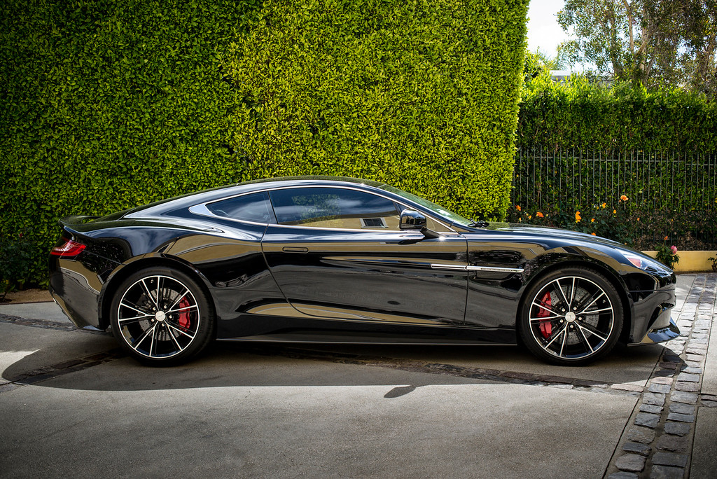 . Mark Maron\'s  2014 Aston Martin Vanquish.  The V-12, 600 horse power carbon fiber supercar starts around $300,000.00.  Photo by David Crane/Los Angeles Daily News