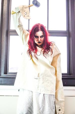 Straight Jacket Girl with Hammer Horror photo shoot
