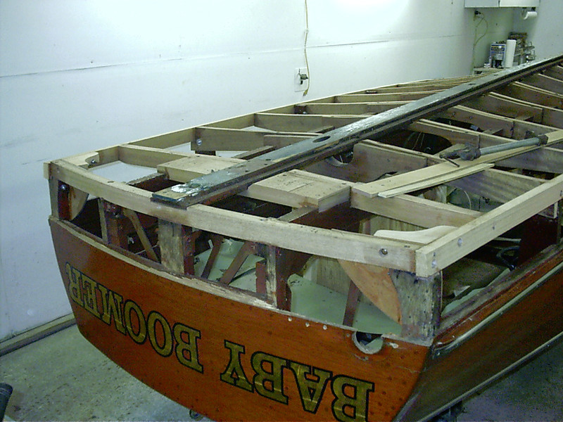 New laminated transom frame and rear corners installed.