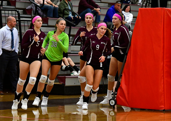 10/15/2019 Mike Orazzi | StaffrBristol Central girls volleyball on Tuesday night in Bristol.