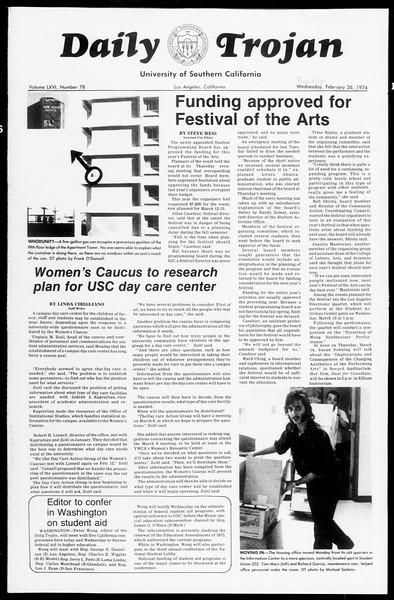 Daily Trojan, Vol. 66, No. 78, February 26, 1974