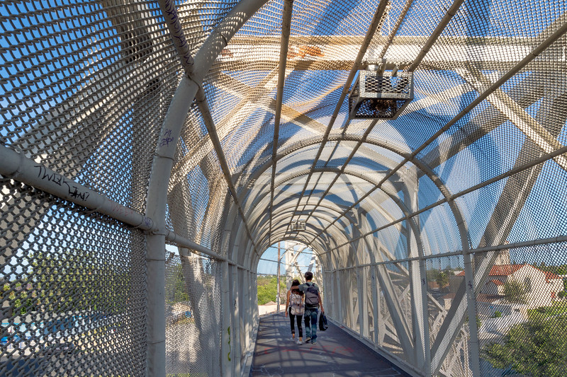 Pedestrian bridge over Blue Line tracks in Watts.